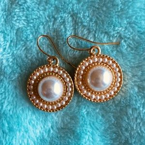 Anne Klein Pearl and Gold tone Drop Earrings